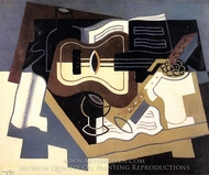 Guitar with Clarinet painting reproduction, Juan Gris