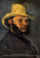 Gustave Boyer in a Straw Hat by Paul Cezanne