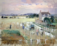 Hanging the Laundry out to Dry painting reproduction, Berthe Morisot