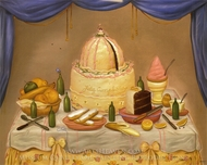 Happy Birthday painting reproduction, Fernando Botero
