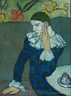 Harlequin Leaning On His Elbow painting reproduction, Pablo Picasso (inspired by)