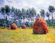 Haystacks at Giverny painting reproduction, Claude Monet