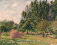 Haystacks, Morning, Eragny painting reproduction, Camille Pissarro