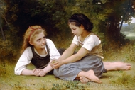 Hazelnuts (The Hazelnuts Gatherers) painting reproduction, William Adolphe Bouguereau