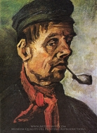 Head of a Peasant with a Clay Pipe painting reproduction, Vincent Van Gogh