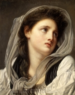 Head of a Young Woman painting reproduction, Jean Baptiste Greuze