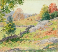 Hillside Pastures, September painting reproduction, Willard Leroy Metcalf