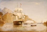 HMS Hydra at Cape Bagur, 7 August 1807 painting reproduction, Paul Gauci