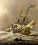 HMS Resolution in a Gale painting reproduction, Willem Van De Velde, The Younger