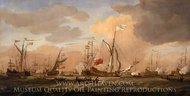 HMY Mary Arriving with Princess Mary at Gravesend in a Fresh Breeze painting reproduction, Willem Van De Velde, The Younger