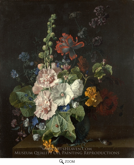 Painting Reproduction of Hollyhocks and Other Flowers in a Vase, Jan Van Huysum