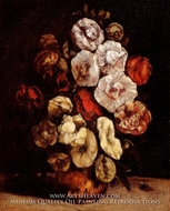 Hollyhocks in a Copper Bowl by Gustave Courbet