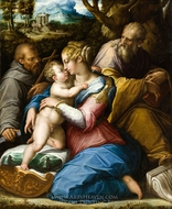 Holy Family with Saint Francis in a Landscape painting reproduction, Giorgio Vasari