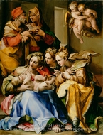 Holy Family with Saints Anne, Catherine of Alexandria, and Mary Magdalene painting reproduction, Nosadella