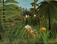 Horse Attacked by a Jaguar painting reproduction, Henri Rousseau