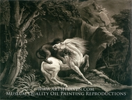 Horse Attacked by a Lion painting reproduction, Benjamin Green
