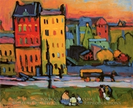 Houses in Munich painting reproduction, Wassily Kandinsky
