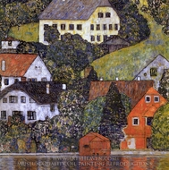 Houses in Unterach on Lake Atter painting reproduction, Gustav Klimt