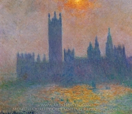 Houses of Parliament, Effect of Sunlight in the Fog painting reproduction, Claude Monet