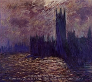 Houses of Parliament, Reflection of the Thames painting reproduction, Claude Monet