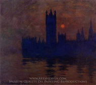 Houses of Parliament, Sunset painting reproduction, Claude Monet