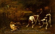 Hunting Dogs with Dead Hare painting reproduction, Gustave Courbet
