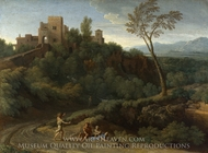 Imaginary Landscape with Buildings in Tivoli painting reproduction, Gaspard Dughet
