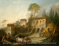 Imaginary Landscape with the Palatine Hill from Campo Vaccino painting reproduction, Francois Boucher