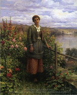In Her Garden painting reproduction, Daniel Ridgway Knight