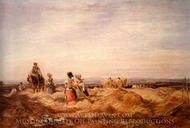 In the Hayfield painting reproduction, David Cox