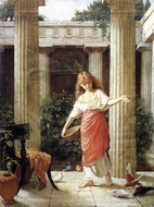 In the Peristyle painting reproduction, John William Waterhouse
