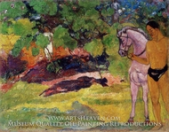 In the Vanilla Grove, Man and Horse (The Rendezvous) by Paul Gauguin
