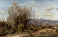 In the Vicinity of Geneva painting reproduction, Jean-Baptiste Camille Corot