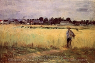 In the Wheatfields at Gennevillers painting reproduction, Berthe Morisot