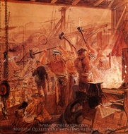 Industry on the Tyne, Iron and Coal painting reproduction, William Bell Scott