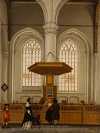 Interior of the Laurenskerk at Rotterdam painting reproduction, Anthonie De Lorme