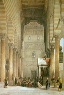 Interior of the Mosque of the Metwalis painting reproduction, David Roberts