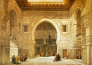 Interior of the Mosque of the Sultan El Ghoree painting reproduction, David Roberts