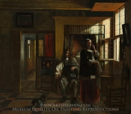 Interior with a Young Couple painting reproduction, Pieter De Hooch