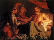 Issac Blessing Jacob painting reproduction, Matthias Stomer