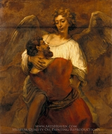 Jacob Wrestling with the Angel painting reproduction, Rembrandt Van Rijn