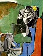 Jacqueline Assise Avec Kaboul painting reproduction, Pablo Picasso (inspired by)