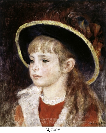 Painting Reproduction of Jeanne Henriot (Girl in a Blue Hat), Pierre-Auguste Renoir
