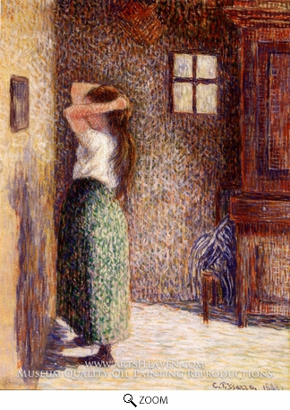 Painting Reproduction of Jeune Paysanne a sa Toilette, Camille Pissarro