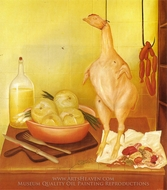Kitchen Table 2 painting reproduction, Fernando Botero