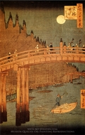 Kyobashi Bridge, Takegashi Wharf painting reproduction, Utagawa Hiroshige