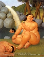 La Cascada painting reproduction, Fernando Botero