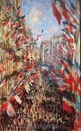 La Rue Montorgueil, Decked out with Flags, 30 June 1878 painting reproduction, Claude Monet