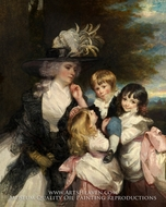 Lady Smith Charlotte Delaval and Her Children, George Henry, Louisa, and Charlotte painting reproduction, Sir Joshua Reynolds