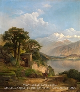 Lake Como painting reproduction, Thomas Moran